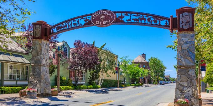 Arched gate entrance to Old Town Temecula, California